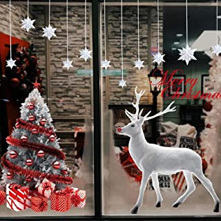 Vohoney Christmas Window Stickers Xmas Decal Decorations DIY Large Wall Door Mural Sticker Clings Decal for Showcase Holidays Xmas Decoration(Christmas Window Stickers for Reindeer)