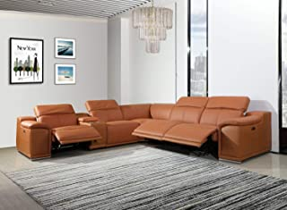 Blackjack Furniture Venice Modern Living Room Power Reclining Sectional Set with Console, 6 Piece, Camel