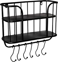 Farmhouse Shelf with Hooks and Towel Bar - Coffee Bar Wall Shelf | Floating Holder for Mugs | Black Metal Rack for Kitchen, Laundry, Garage, Bathroom