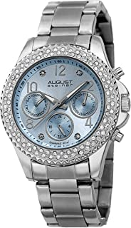 August Steiner Women's Multifuction Chronograph Fashion Watch - Crystal Bezel with Three Subdials and Date Window on ToneOyster Bracelet