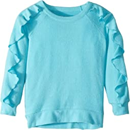 Extra Soft Love Knit Ruffled Sleeve Pullover Sweater (Toddler/Little Kids)