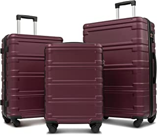 "Merax Luggage Sets 3 Pcs Spinner Suitcase Expandable Hardshell Lightweight ABS Suitcase 20""24""28"" (3 Pcs Set-Red)"