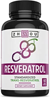 Zhou Resveratrol Supplement | Healthy Aging, Immune System & Heart Health Support | Powerful Antioxidant Benefits | 30 Ser...