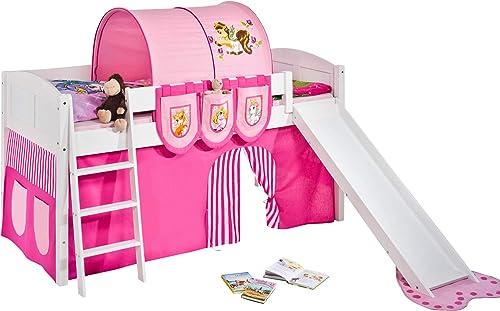 Lilokids Set Angebot - Spielbett IDA 4106 Filly mit Rutsche - Teilbares Systemhochbett Weiß - mit Vorhang, Tunnel und Taschen