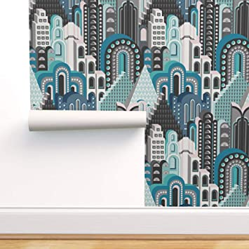 Peel-and-Stick Removable Wallpaper Teal Gold Art Deco Arches
