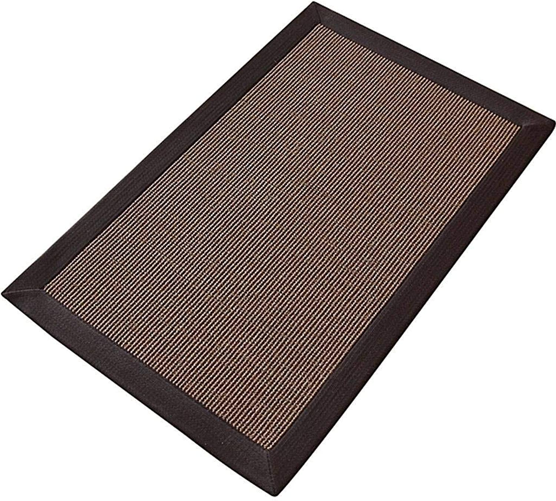 Modern Doormat, Sisal Fiber Non-Slip Latex Backing Ultra Dustproof Indoor Carpet -80x120Cm(31x47Inch)-Dark Brown