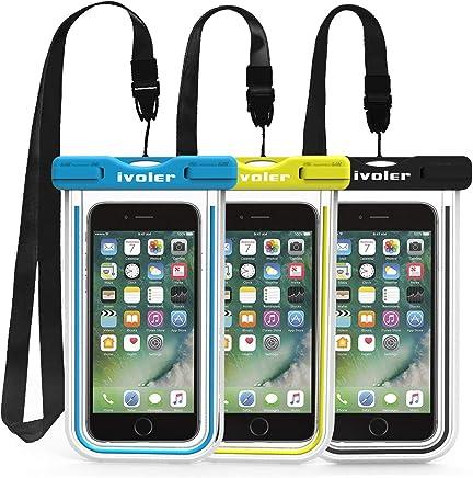 iVoler [3 Pezzi] Custodia Impermeabile Smartphone, IPX8 Borsa Impermeabile Sacchetto Impermeabile Cellulare Dry Bag Universale Waterproof Cover Case per iPhone, Samsung, Huawei, ECC. (Nero+Blu+Verde)