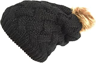 NY GOLDEN FASHION Women Chunky Cable Knit Oversized Slouchy Baggy Winter Thick Beanie Hat Pom Pom
