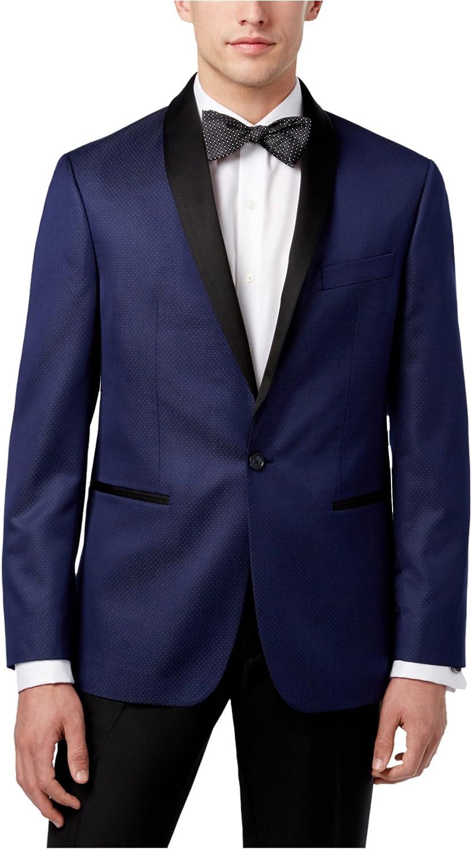 Ryan Seacrest Mens Microdot Dinner One Button Blazer Jacket, Blue, 42 Long