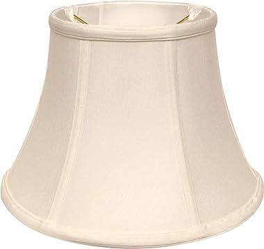 "12""W Shantung Fabric Slant Shallow Drum Softback Lampshade in White"