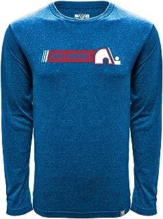 NHL Quebec Nordiques Men's Mirage Vintage Hybrid Stripe Long Sleeve Tee, Heather Royal, Medium