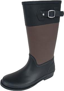 長靴 雨靴 防水 レインシューズ ジョッキーブーツ ベルト アウトドア ガーデニング バイカラー ロング カラフル 通勤 4色 レディース