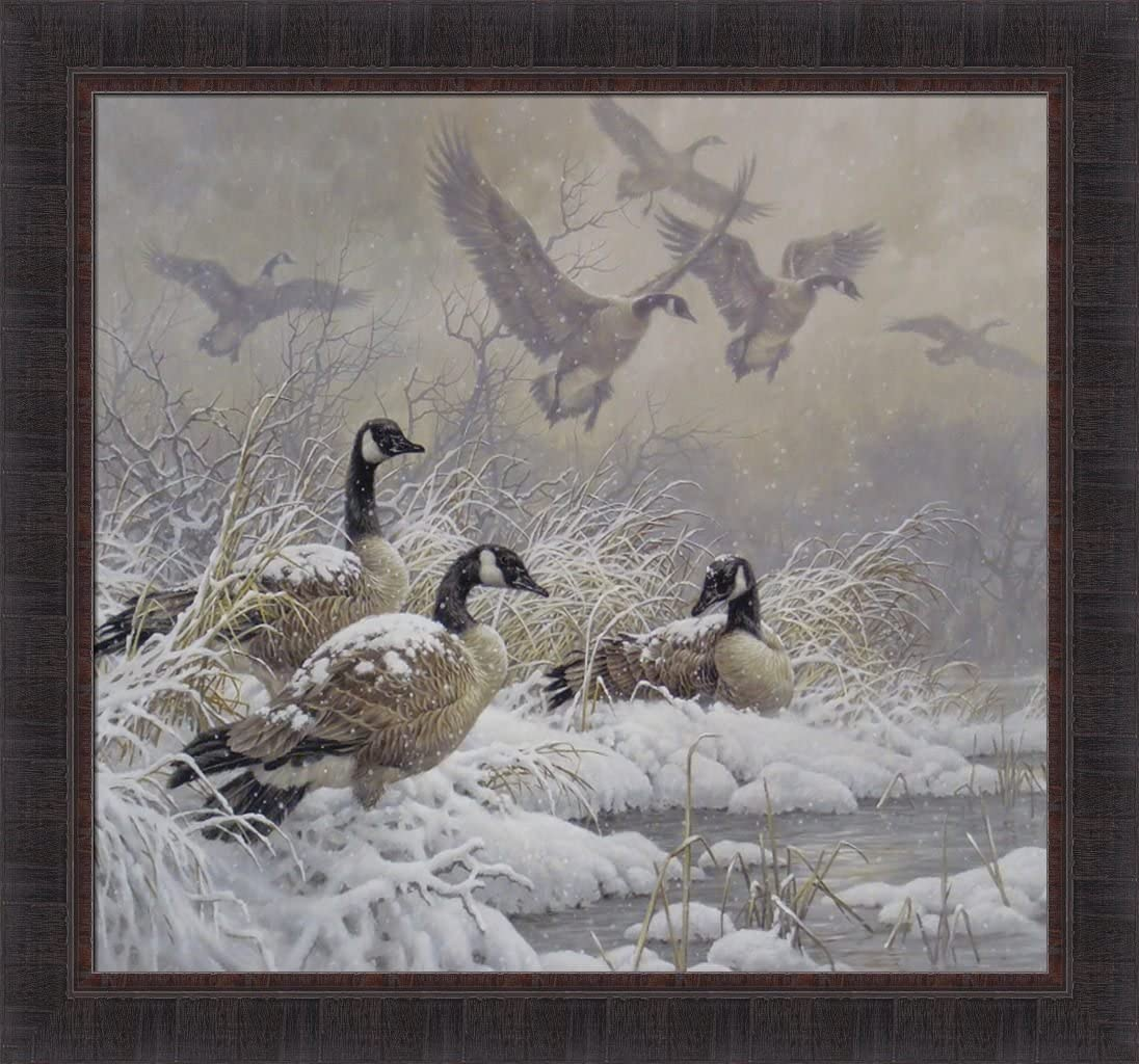 Home Cabin Décor Winter Retreat By Larry Fanning 28x30 Canada Goose Geese Snow Framed Art Print Picture Posters Prints