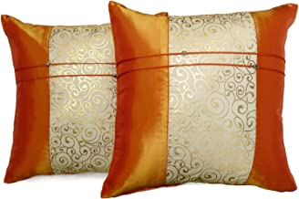 Set of Two Orange Silk Throw Cushion Pillow Covers Gold Print Middle Stripe for Decorative Living Room, Bed room Sofa Car Size 16 x16 Inches