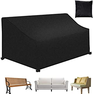 """Patio Bench Loveseat Cover, Outdoor 4-Seater Durable and Waterproof Patio Furniture Sofa Cover, 74.8""""x26""""x35"""", Black"""