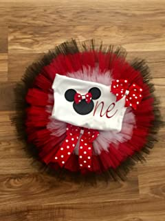 "Minnie Mouse Disney""ONE"" Tutu Outfit Set Dress Shirt First Birthday 1st in Red White and Black"