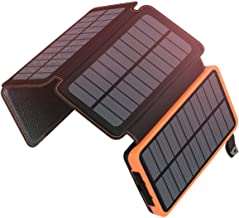 ADDTOP Solar Charger 25000mAh Portable Solar Power Bank with Dual 2.1A Outputs Outdoor External Battery Pack Compatible Mo...