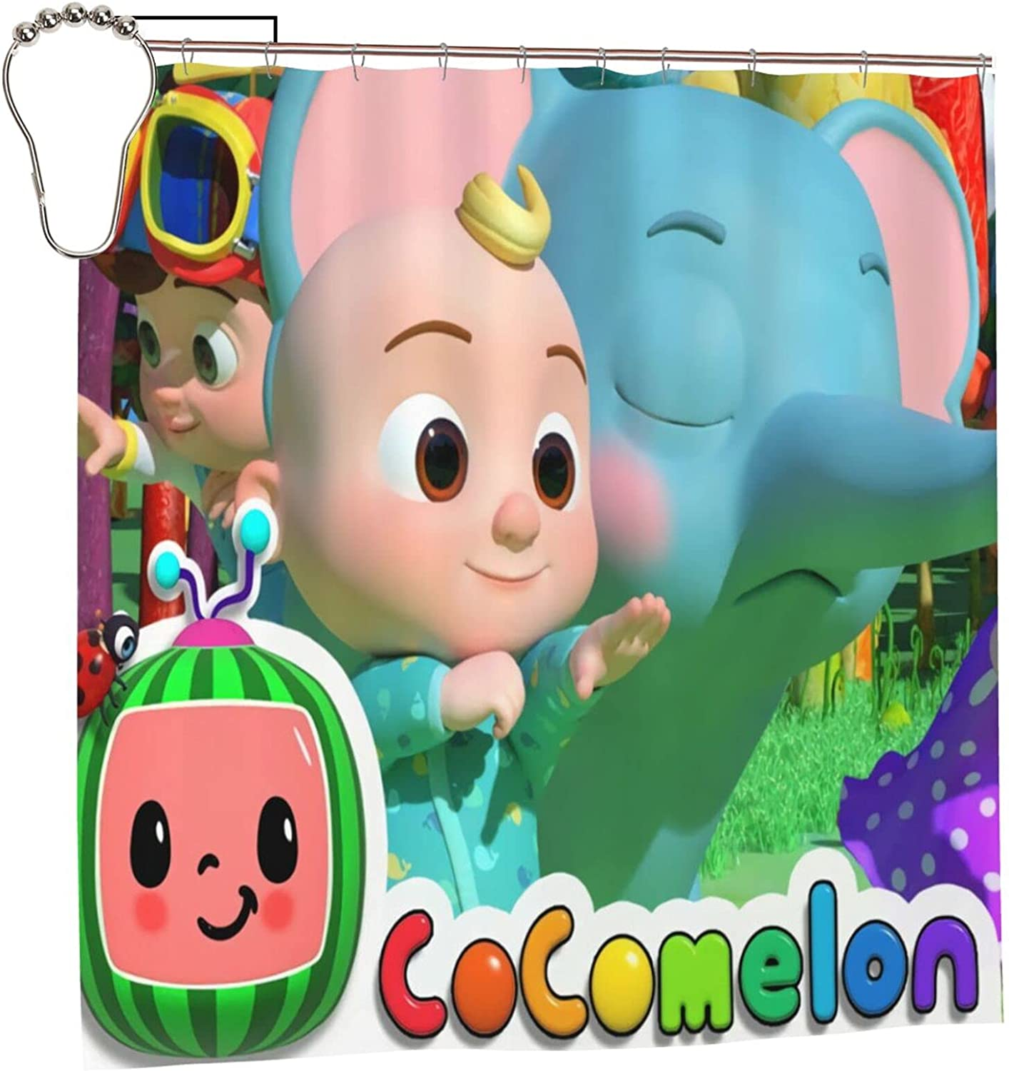 Coco-Melon Max All items free shipping 51% OFF Kids Shower Curtain Decoration Interesting Bathroom