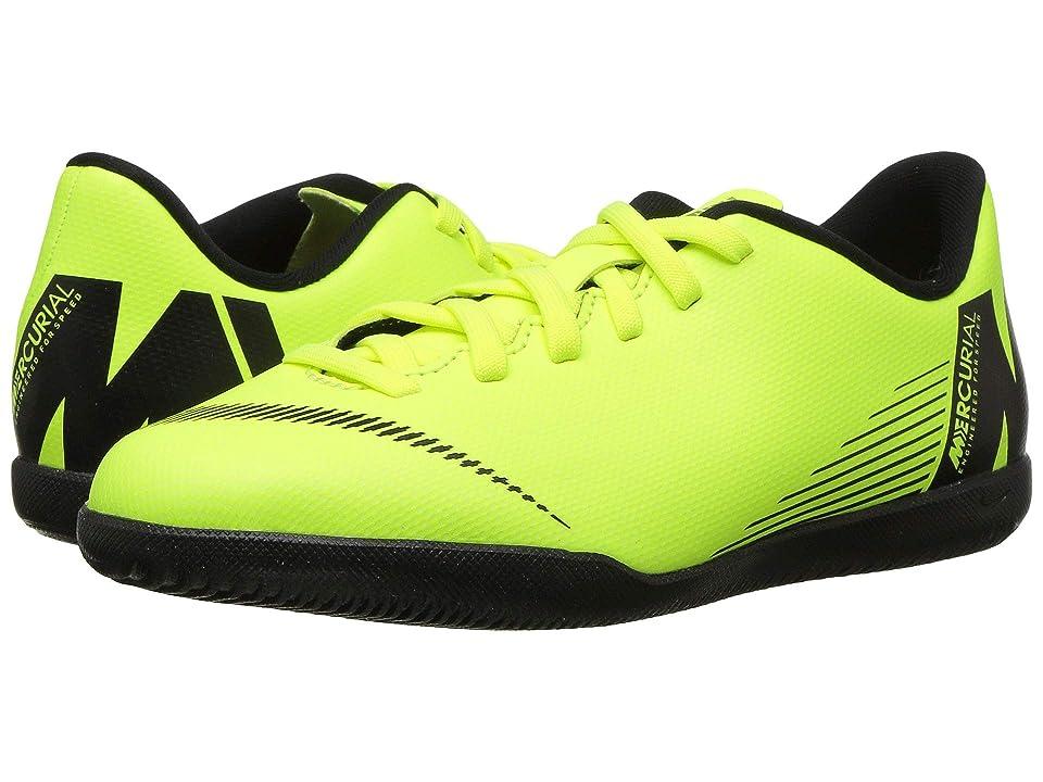 Nike Kids VaporX 12 Club IC Soccer (Toddler/Little Kid/Big Kid) (Volt/Black) Kids Shoes