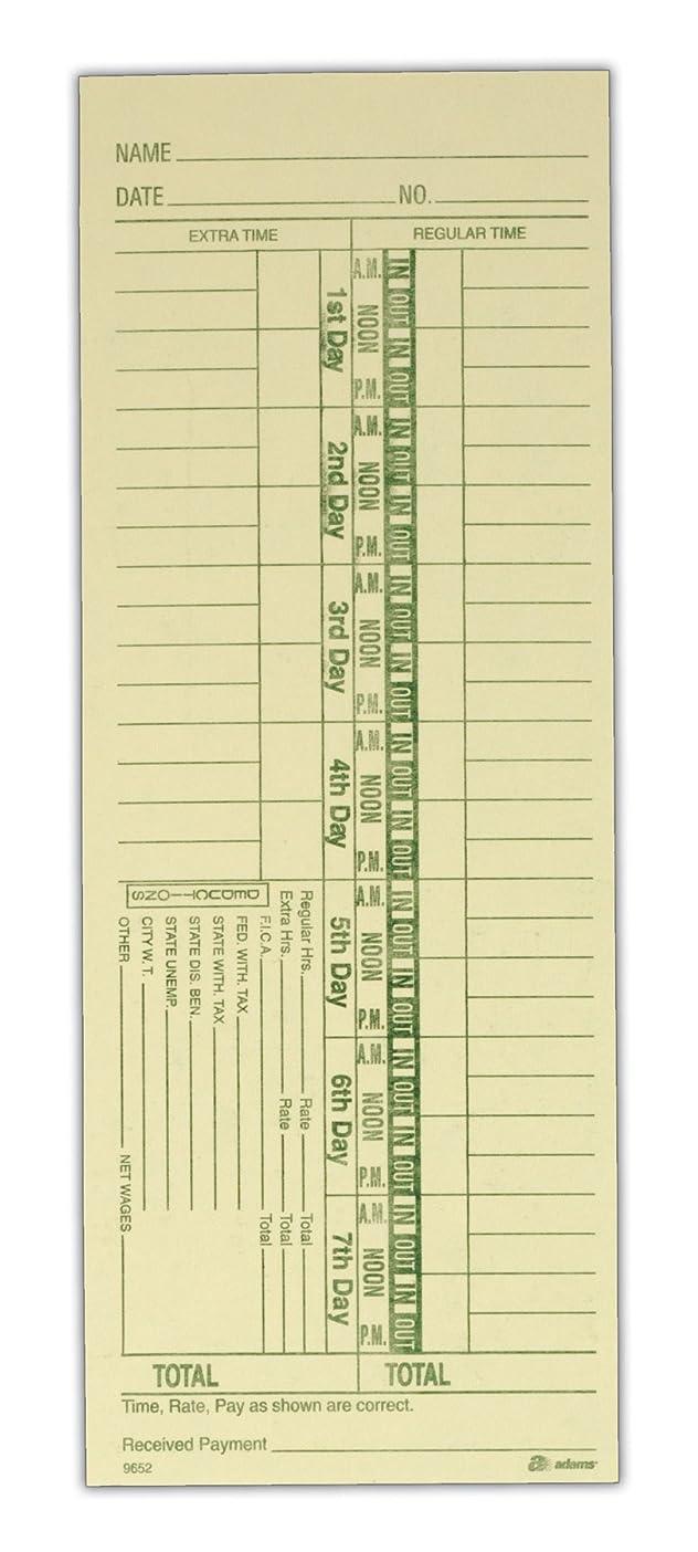 グレートオーク共同選択ブリッジAdams時間カード番号、週単位、1-sided、日、3?–?3?/ 8?