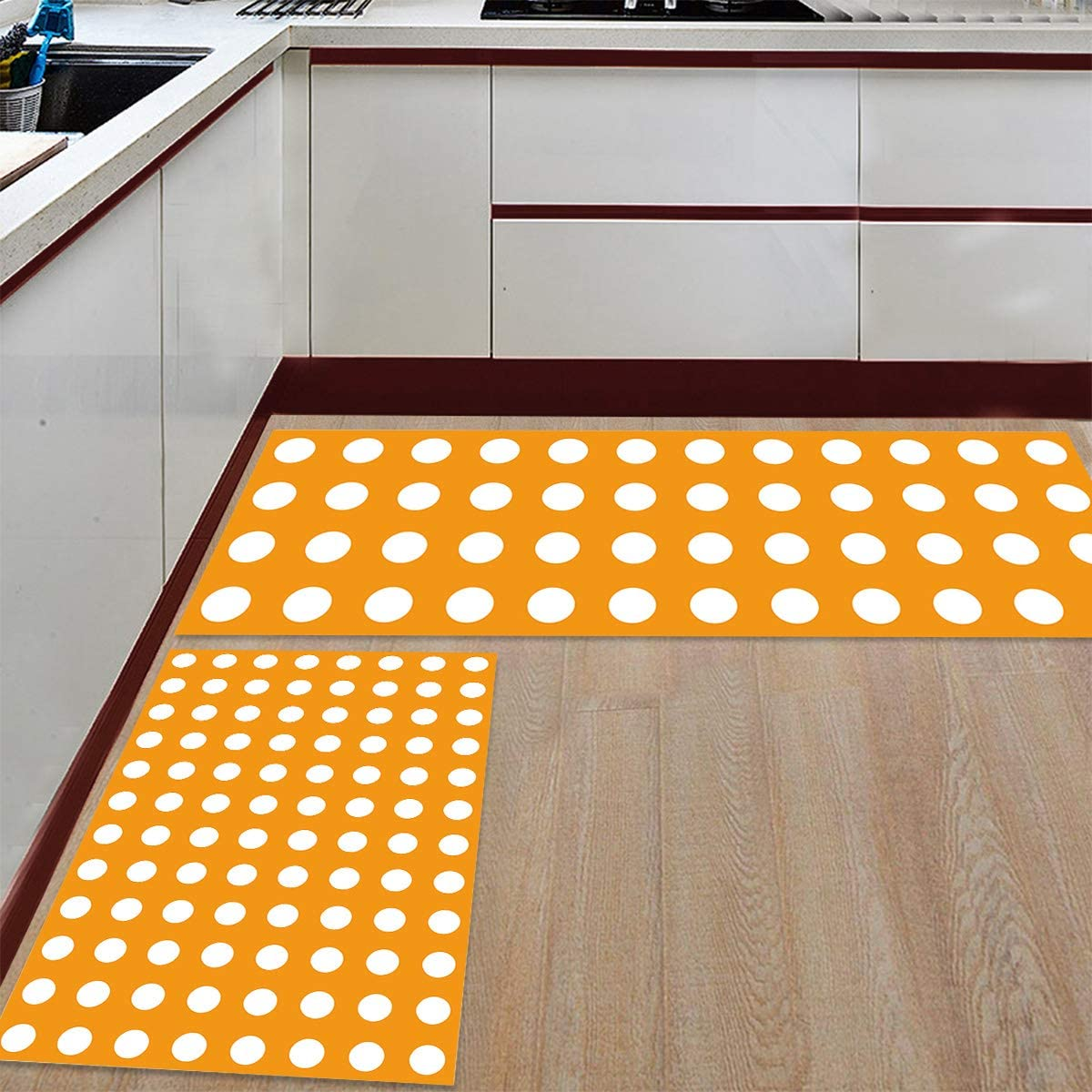 Advancey 2 Pieces All items in the store Max 75% OFF Anti-Slip Kitchen Patte Mats Wave Point Simple