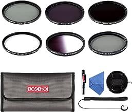 Beschoi 77mm UV Filter, CPL Filter, ND Filter Kit (ND2 + ND4 + ND8), Graduated Grey Color Filter Set, Center Pinch Lens Cap, Cap Keeper Leash, Lens Cleaning Pen, Filter Carry Pouch,Lens Cleaning Cloth