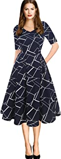 oxiuly Women's Vintage Plaid Stripe V-Neck Casual Pockets Party Swing Dress OX295