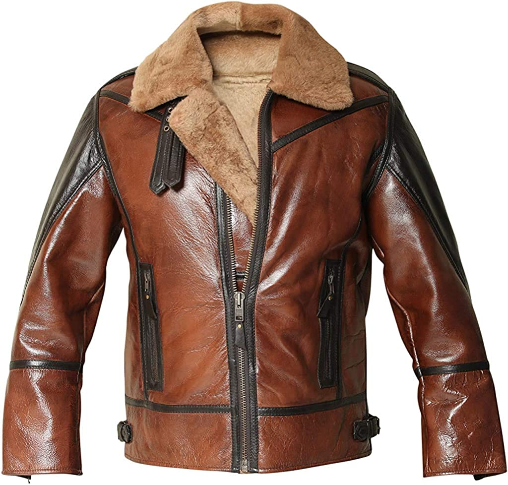 Men's B3 Distressed Bomber Real Shearling Sheepskin Leather Flight Aviator Jacket
