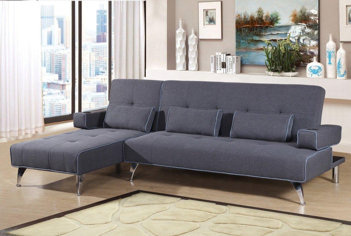 discountsland Oscar Fabric Corner Sofa Bed With Chaise & 6 Matching Cushion  (Grey)