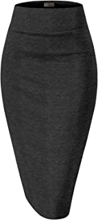 H&C Womens Premium Nylon Ponte Stretch Office Pencil Skirt Made in USA