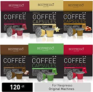 Bestpresso Coffee for Nespresso Original Machine 120 pods Certified Genuine Espresso Variety Pack mix Flavored and Dark roast, Pods Compatible with Nespresso Original
