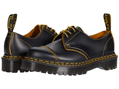 Dr. Martens 1461 Bex Double Stitch (Black/Yellow Smooth Slice) Shoes