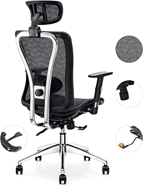 Cedric Office Chair,Breathable Mesh Computer Chair with Ergonomic Adjustable Lumbar Support, Black Swivel Desk Chair with Adj