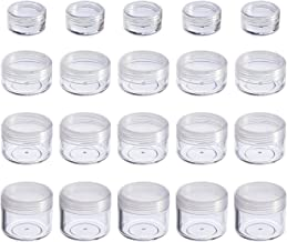 Hicarer 20 Pieces Cosmetic Containers Travel Pot Jar Set with Lid for Creams Sample Make-up Storage, 5, 10, 15 and 20 Gram (Clear Lid and Clear Body)