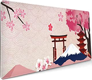 Japanese Landscape Pink Sakura Extended Mouse Pad 35.4x15.7 Inch XXL Cherry Blossom Non-Slip Rubber Base Large Gaming Mous...