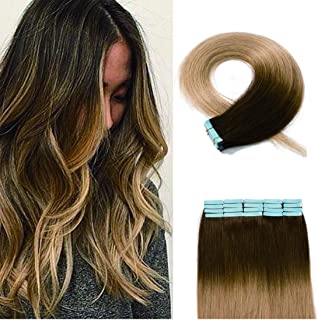 SEGO 40 Pieces Ombre Tape in Hair Extensions Human Hair Seamless Skin Weft 100% Real Remy Invisible Tape Hair Extensions Straight Double Sided 20 inches #4T27 Medium Brown to Dark Blonde 100g