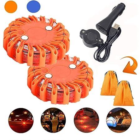 Mioke 3 StÜcke 2 Warnleuchten Warnlicht Mit Magnet Rundum Warnblinkleuchte 9 Leuchtmodi Ladegerät Komplettes Kit Orange Auto