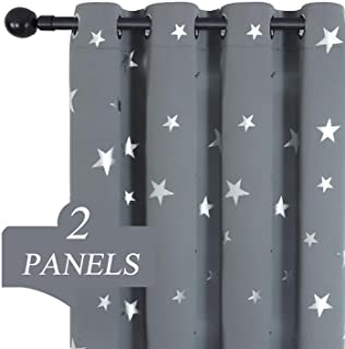 Estelar Textiler Kids Bedroom Blackout Curtains with Shiny Twinkle Stars Grommet Window Curtains for Living Room 38W×63L Grey Set of 2 Drapes