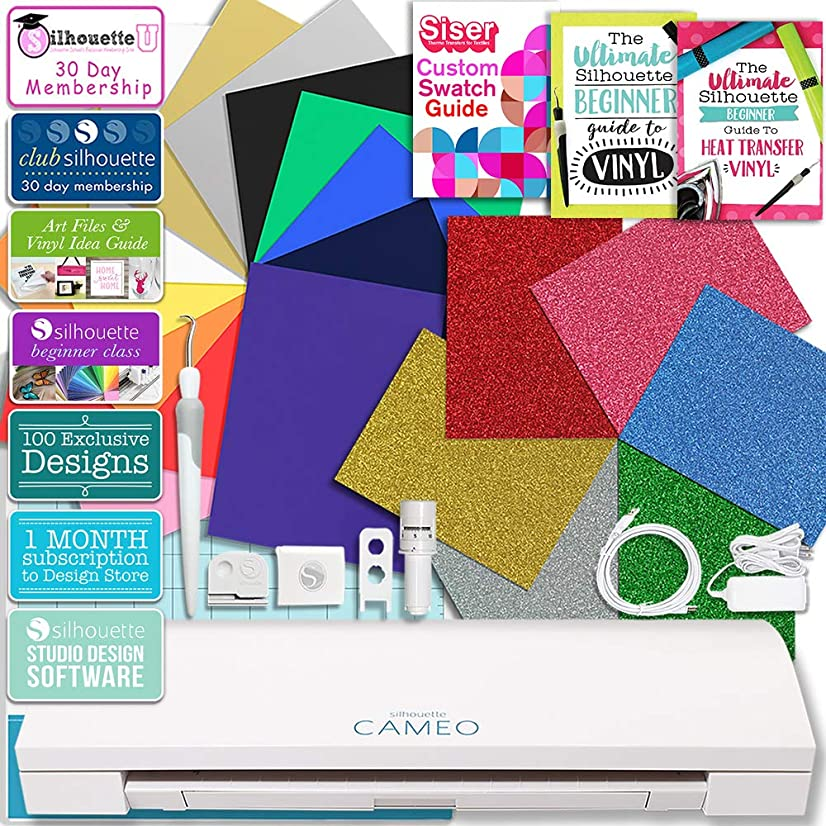 Silhouette Cameo 3 Bluetooth Heat Transfer T-Shirt Vinyl Bundle Siser Vinyl, Swatch Book, Guides, Class and Membership