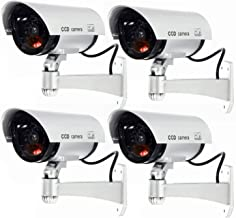 WALI Bullet Dummy Fake Surveillance Security CCTV Dome Camera Indoor Outdoor with 1 Flashing LED Light and Warning Security Alert Sticker Decals S1-4 (Silver), 4 Pack