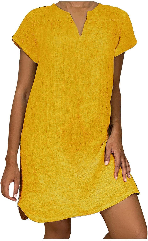 Uppada Linen Dress for Women Casual Summer Plus Size Midi Dress Short Sleeve V Neck Boho Loose Comfy Solid Color Dress