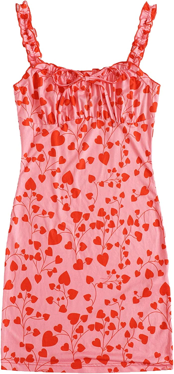 Limited price SOLY HUX Women's Floral Print Tie Frill Front Sleeveless Ruched Ranking TOP3
