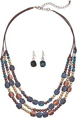Multi-Strand Mixed Stone Necklace/Earrings Set