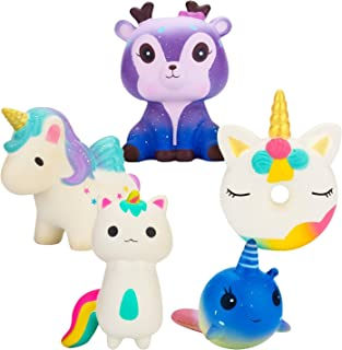 WATINC 5Pcs Kawaii Animal Squishy,Sweet Scented Funny Squishy for Kid Toy, Lovely Toy,Stress Relief Toy,Decorations Toy Gift Fun Unicorn Donut 5p Set