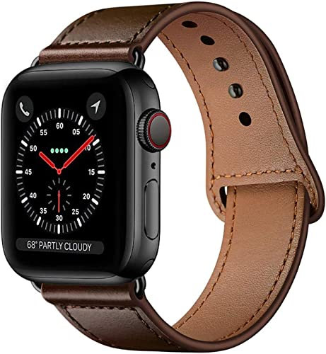 Xtore Leather Band Compatible with iWatch Series 4 5 6 and SE 44mm Brown