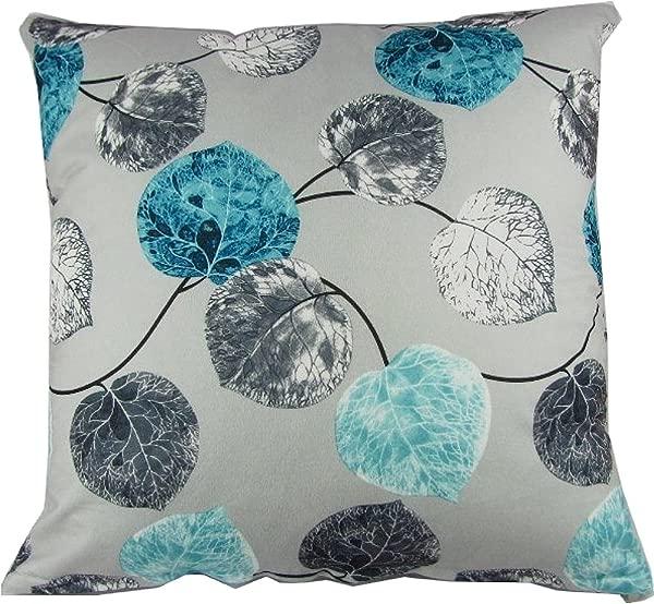 D Berite 靠垫套枕套方形 20x20 英寸棉涤纶蓝色灰色叶子
