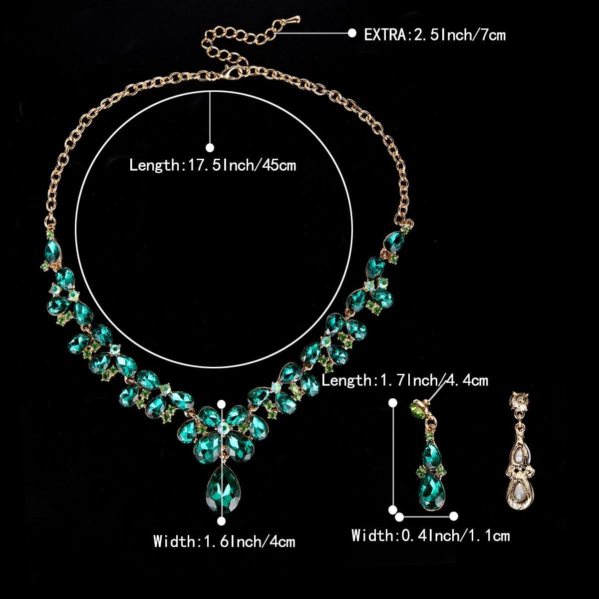 Clearine Womens Wedding Bridal Crystal Teardrop Cluster Statement Necklace Dangle Earrings Set