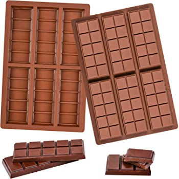 Fimary Break Apart Chocolate Molds Protein and Engery Bar Silicone Mold, Non-Stick European-Grade Silicone, Pack of 2