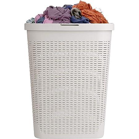 Mind Reader 40HAMP-IVO 40 Liter Slim Basket, Laundry Hamper with Cutout Handles, Washing Bin, Dirty Clothes Storage, Bathroom, Bedroom, Closet, Ivory