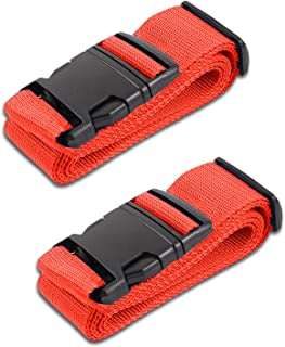 Red Luggage Belts Suitcase Straps Adjustable and Durable, Name Card, Travel Case Accessories, 2 Pack